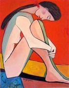 Original art for sale at UGallery.com | Nude with Red Bow by Carolyn Schlam | $3,250 | oil painting | http://www.ugallery.com/oil-painting-nude-with-red-bow