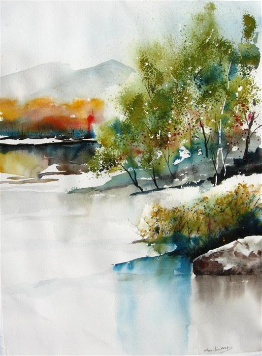 Discover Original Art by Charles Ash | Bosque Colors II watercolor painting | Art for Sale Online at UGallery