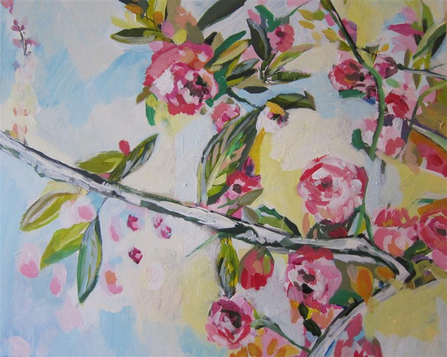 Original art for sale at UGallery.com | Floral Textile by COLETTE WIRZ NAUKE | $825 | Acrylic painting | 16' h x 20' w | http://www.ugallery.com/acrylic-painting-floral-textile