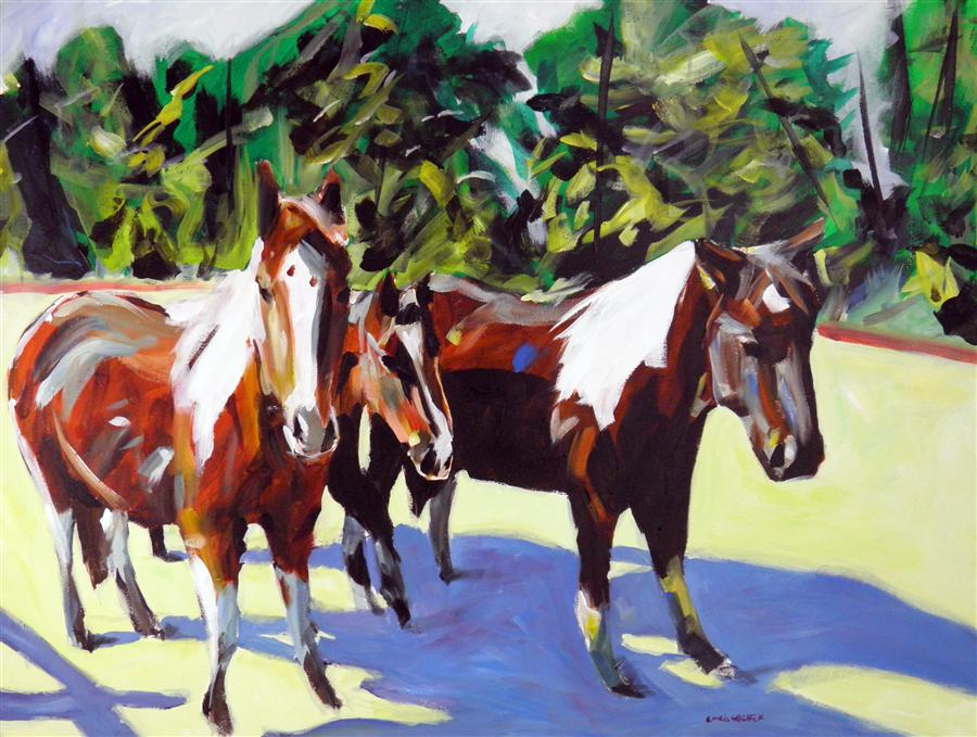 Original art for sale at UGallery.com | Pinto Trio by CHRIS WAGNER | $1,525 | Acrylic painting | 30' h x 40' w | http://www.ugallery.com/acrylic-painting-pinto-trio