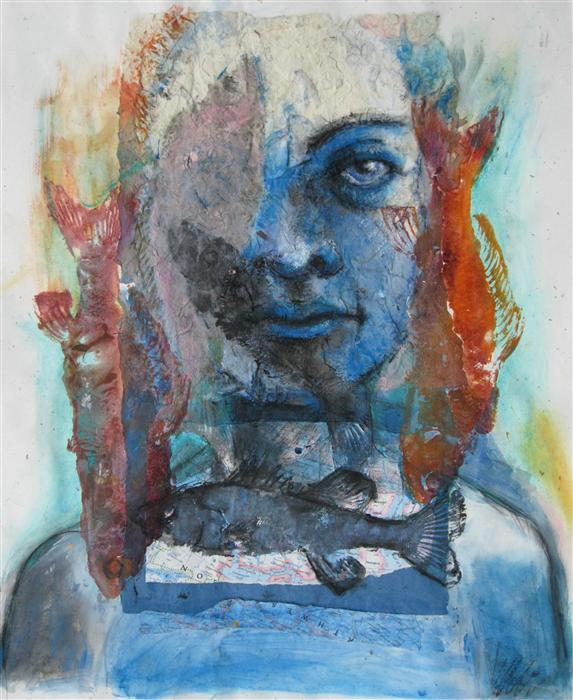 Original art for sale at UGallery.com | Lady of the Lake by LIBBY RAMAGE | $825 | Mixed media artwork | 23' h x 18' w | http://www.ugallery.com/mixed-media-artwork-lady-of-the-lake