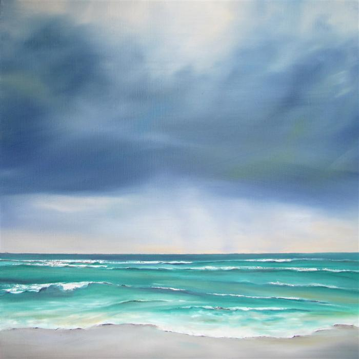 Original art for sale at UGallery.com | Stormy Seaside by NANCY HUGHES MILLER | $650 | Oil painting | 18' h x 18' w | http://www.ugallery.com/oil-painting-stormy-seaside