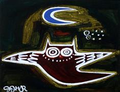 Children's art,Fantasy art,Animals art,acrylic painting,Owl and Moon #2
