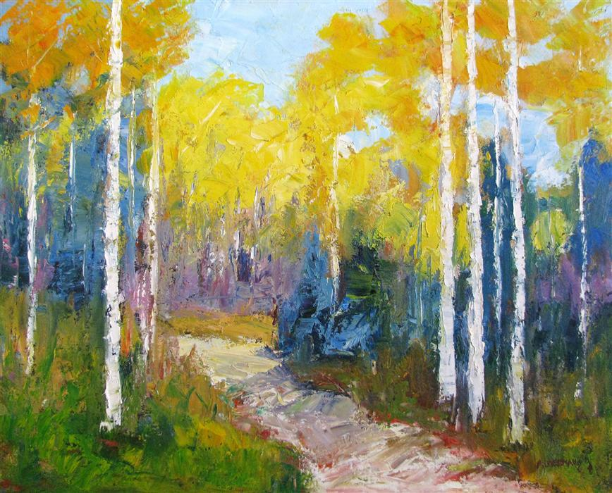 Original art for sale at UGallery.com | Aspen Trail by ROGER ALDERMAN | $2,400 | Oil painting | 24' h x 30' w | http://www.ugallery.com/oil-painting-aspen-trail