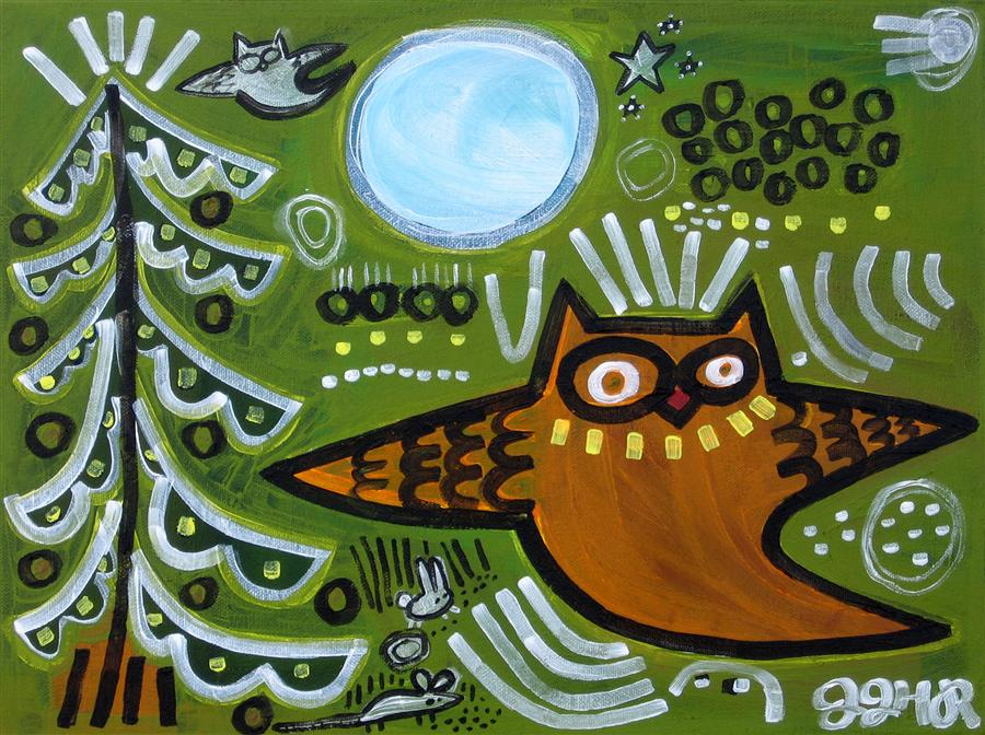 Original art for sale at UGallery.com | Storybook Owl by JESSICA JH ROLLER | $375 | Acrylic painting | 12' h x 16' w | http://www.ugallery.com/acrylic-painting-storybook-owl
