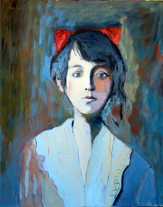 Original art for sale at UGallery.com | Old Portrait by CAROLYN SCHLAM | $2,300 | Oil painting | 30' h x 24' w | http://www.ugallery.com/oil-painting-old-portrait
