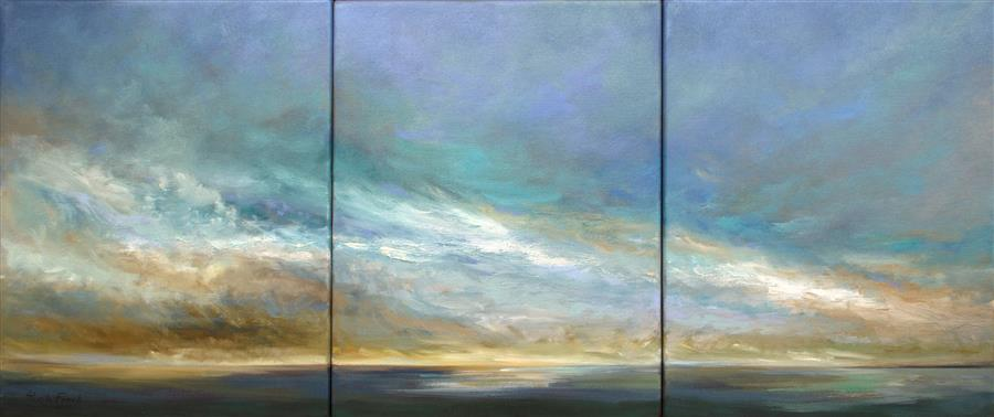 Original art for sale at UGallery.com | Coastal Clouds XI by SHEILA FINCH | $2,700 | Oil painting | 14' h x 33' w | http://www.ugallery.com/oil-painting-coastal-clouds-xi