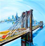 Discover Original Art by Piero Manrique | Brooklyn Colorful Bridge acrylic painting | Art for Sale Online at UGallery
