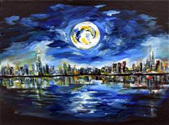 Discover Original Art by Piero Manrique | Full Moon NY  acrylic painting | Art for Sale Online at UGallery