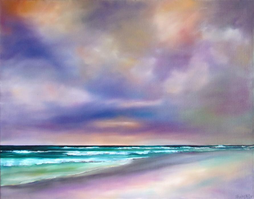 Original art for sale at UGallery.com   Purple Cloudscape Beach by NANCY HUGHES MILLER   $650   Oil painting   18' h x 24' w   http://www.ugallery.com/oil-painting-purple-cloudscape-beach