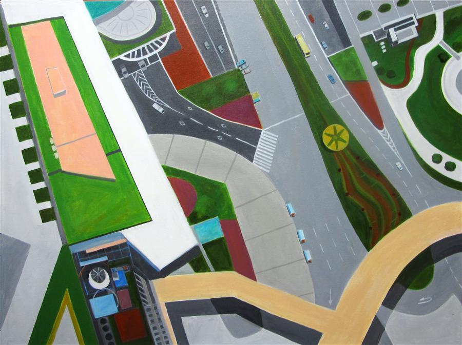 Discover Original Art by Toni Silber-Delerive | Walkway in Shanghai acrylic painting | Art for Sale Online at UGallery