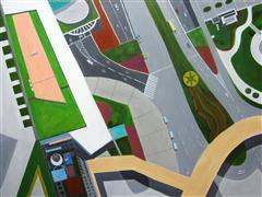 Travel art,acrylic painting,Walkway in Shanghai