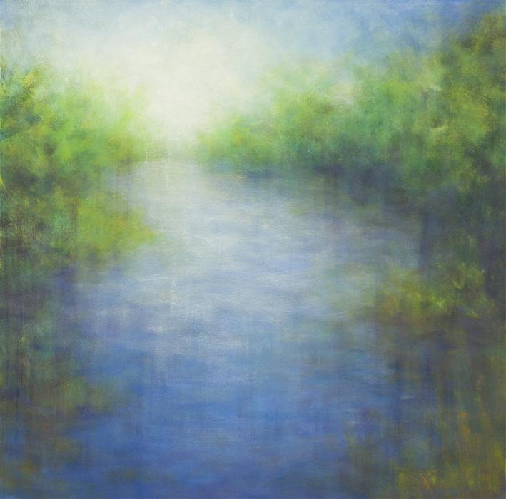 Original art for sale at UGallery.com | View from the Bridge by VICTORIA VEEDELL | $1,725 | Oil painting | 30' h x 30' w | http://www.ugallery.com/oil-painting-view-from-the-bridge