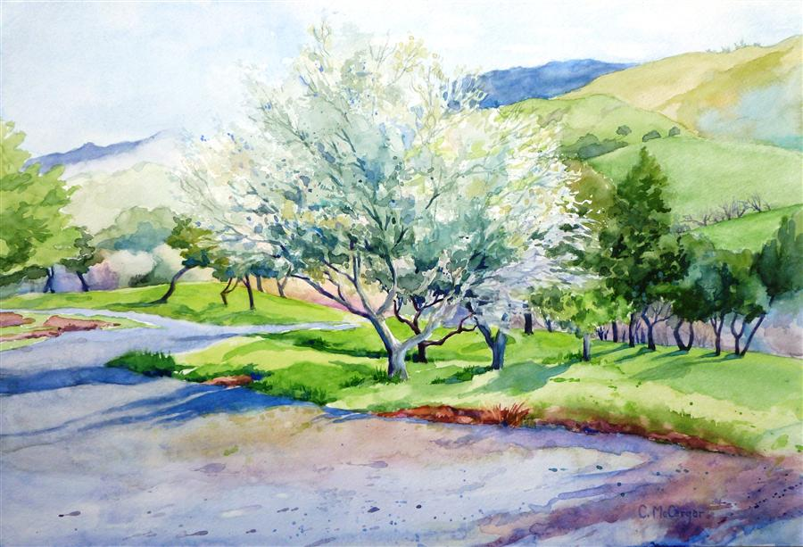Discover Original Art by Catherine McCargar | Spring in the Foothills watercolor painting | Art for Sale Online at UGallery