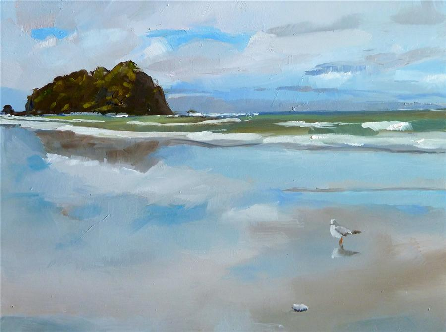 Discover Original Art by Gary Bruton | Beach Reflections oil painting | Art for Sale Online at UGallery