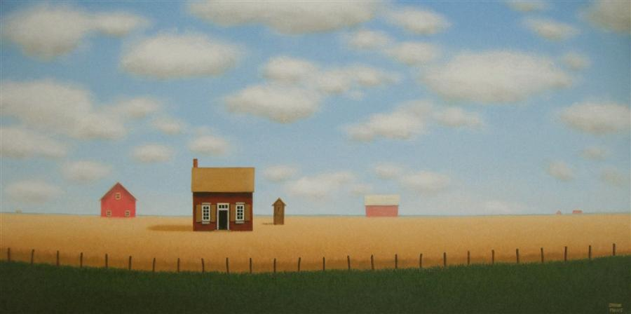 Original art for sale at UGallery.com | Behind the Old Fence Line by SHARON  FRANCE | $750 | Acrylic painting | 12' h x 24' w | http://www.ugallery.com/acrylic-painting-behind-the-old-fence-line