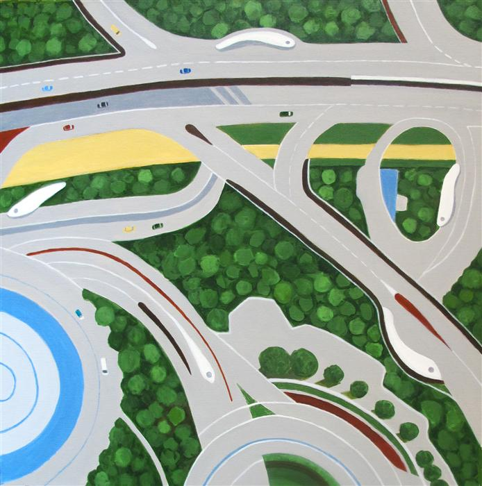 Original art for sale at UGallery.com | Dubai Roadways by TONI SILBER-DELERIVE | $3,375 | Acrylic painting | 36' h x 36' w | http://www.ugallery.com/acrylic-painting-dubai-roadways