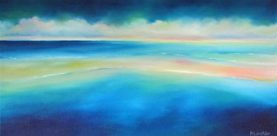 Original art for sale at UGallery.com | Sea Colorscape-Blue by NANCY HUGHES MILLER | $825 | Oil painting | 16' h x 32' w | http://www.ugallery.com/oil-painting-sea-colorscape-blue