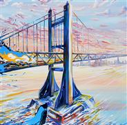 Discover Original Art by Piero Manrique | Triborough Sunset acrylic painting | Art for Sale Online at UGallery