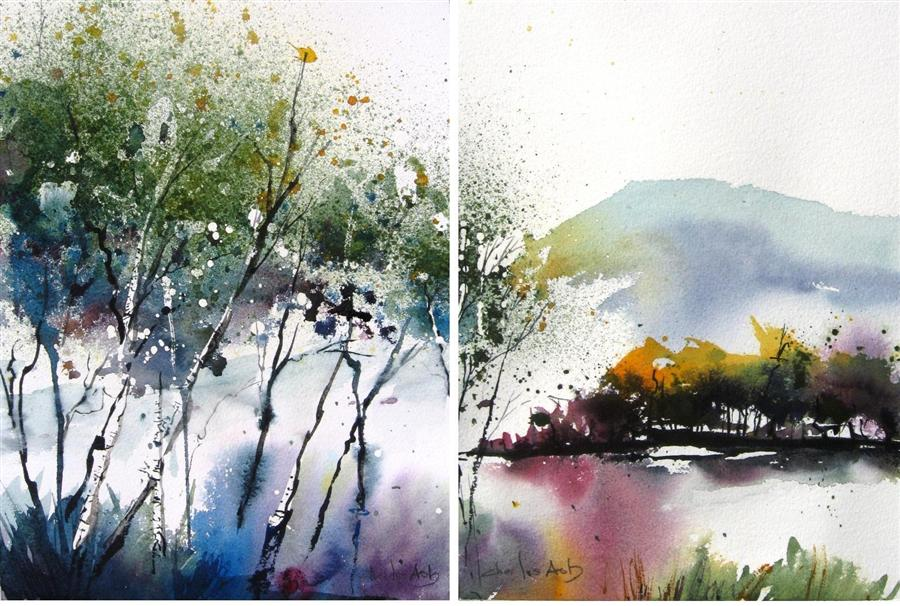 Discover Original Art by Charles Ash | Aspen Meadows  Diptych  watercolor painting | Art for Sale Online at UGallery