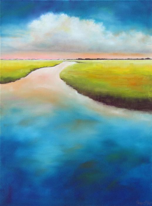 Original art for sale at UGallery.com | Inlet Marsh Cloud by NANCY HUGHES MILLER | $725 | Oil painting | 24' h x 18' w | http://www.ugallery.com/oil-painting-inlet-marsh-cloud
