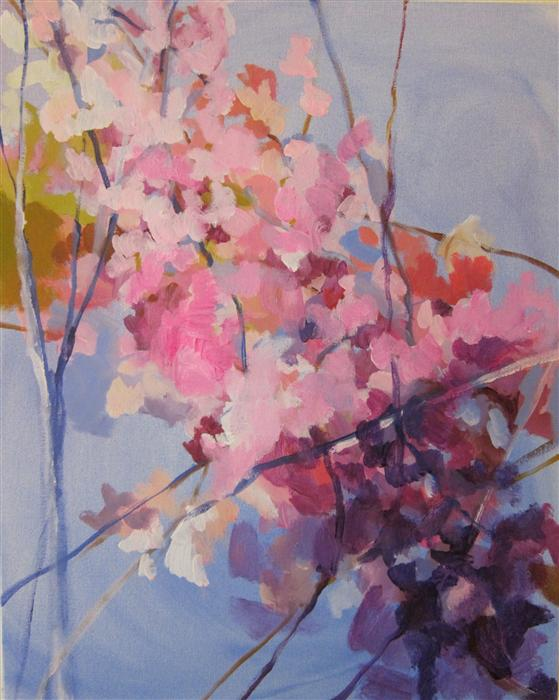 Original art for sale at UGallery.com | A Merging of Cherry Blossoms by COLETTE WIRZ NAUKE | $825 | Acrylic painting | 20' h x 16' w | http://www.ugallery.com/acrylic-painting-a-merging-of-cherry-blossoms
