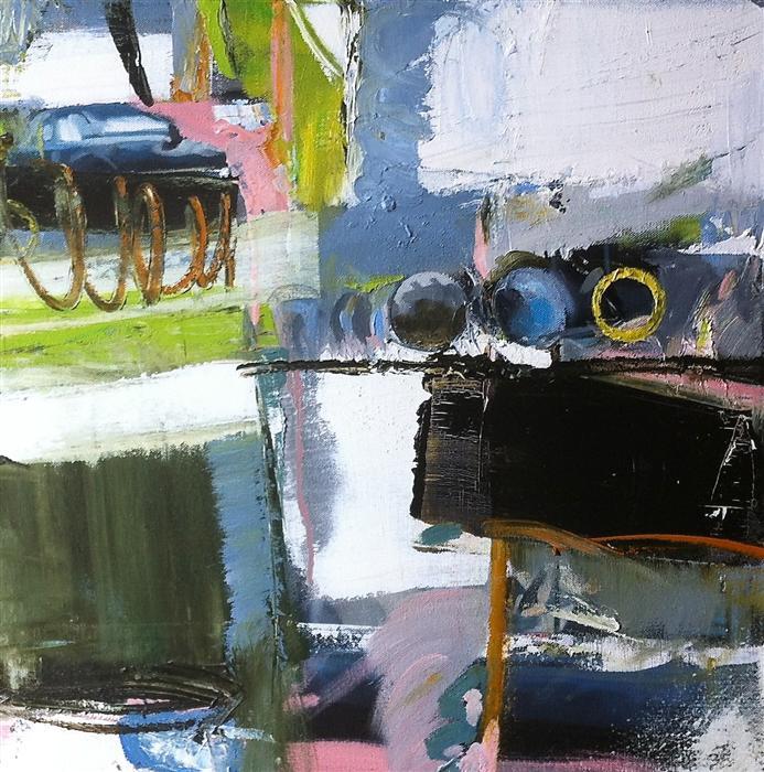 Discover Original Art by Scott Hunter | Blue Garage oil painting | Art for Sale Online at UGallery