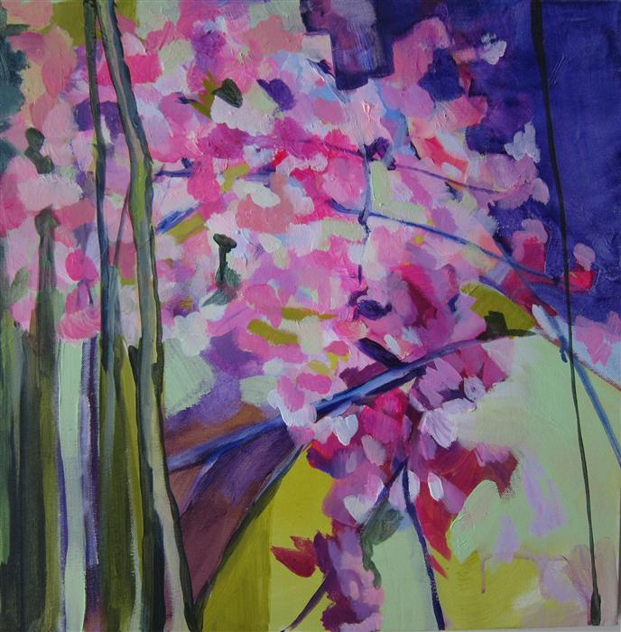 Original art for sale at UGallery.com | A Fracture Of Cherry Blossoms by COLETTE WIRZ NAUKE | $950 | Acrylic painting | 20' h x 20' w | http://www.ugallery.com/acrylic-painting-a-fracture-of-cherry-blossoms