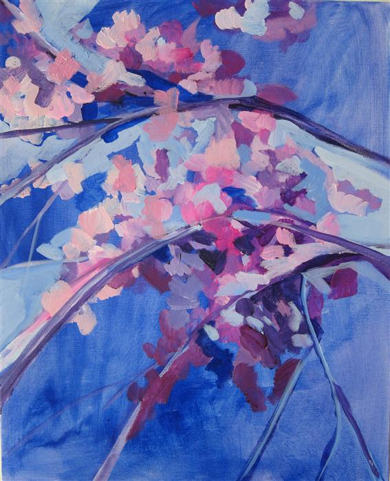 Original art for sale at UGallery.com | Pink & Purple Cherry Blossoms by COLETTE WIRZ NAUKE | $875 | Acrylic painting | 20' h x 16' w | http://www.ugallery.com/acrylic-painting-pink-purple-cherry-blossoms