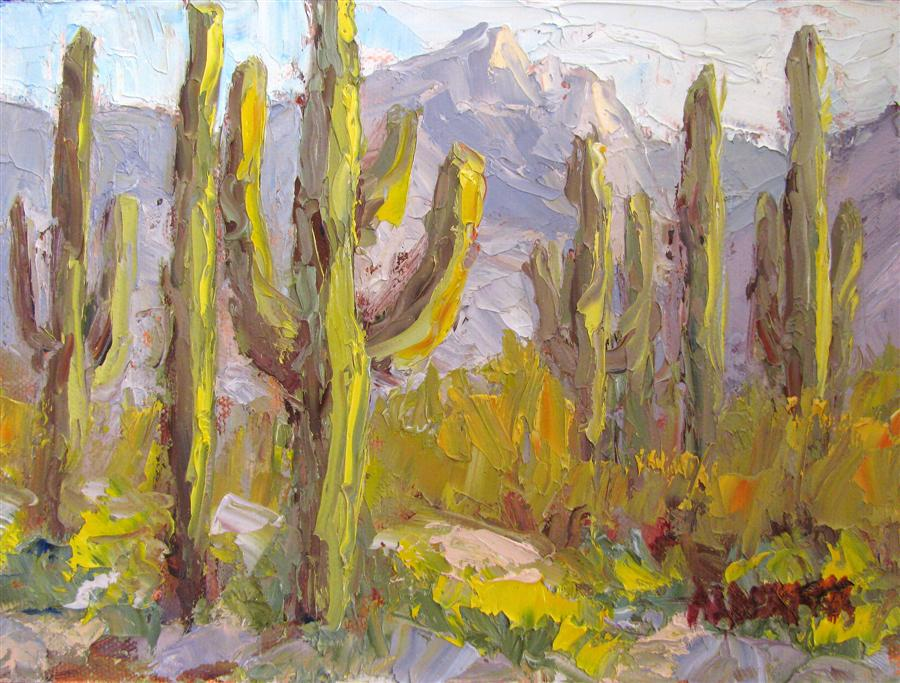 Original art for sale at UGallery.com | Saguaro Stand by ROGER ALDERMAN | $300 | Oil painting | 6' h x 8' w | http://www.ugallery.com/oil-painting-saguaro-stand