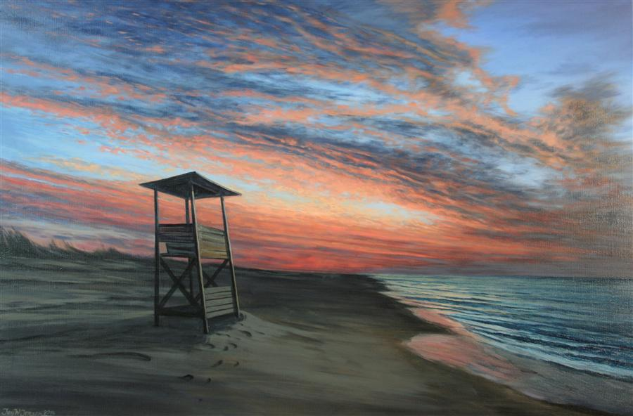 Discover Original Art by Jay Jensen | Ocracoke Dawn oil painting | Art for Sale Online at UGallery