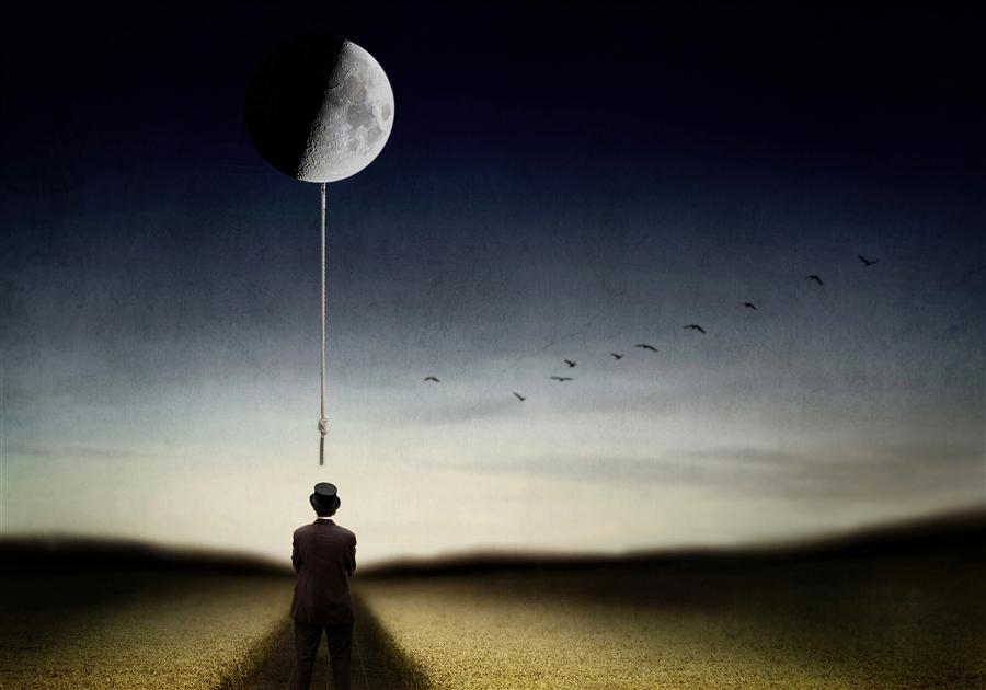Original art for sale at UGallery.com | Man and the Moon by BEN GOOSENS | $195 |  | ' h x ' w | http://www.ugallery.com/photography-man-and-the-moon