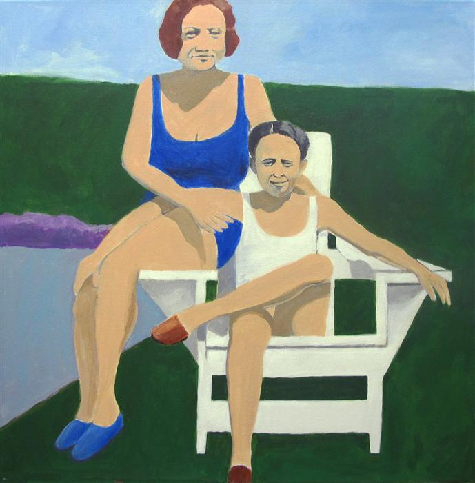 Original art for sale at UGallery.com | Frances and Dad by TONI SILBER-DELERIVE | $2,075 | Acrylic painting | 24' h x 24' w | http://www.ugallery.com/acrylic-painting-frances-and-dad