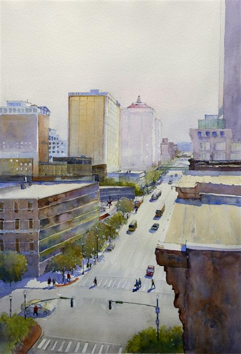 Original art for sale at UGallery.com | Morning on Main by JUDY MUDD | $675 | Watercolor painting | 19' h x 13' w | http://www.ugallery.com/watercolor-painting-morning-on-main