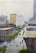 Architecture art,Landscape art,City art,watercolor painting,Morning on Main
