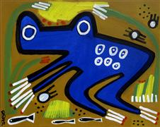 Original art for sale at UGallery.com | Blue Frog by Jessica JH Roller | $475 | acrylic painting | http://www.ugallery.com/acrylic-painting-blue-frog