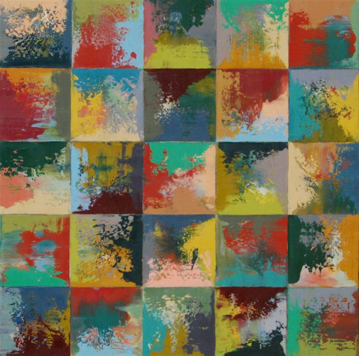 Original art for sale at UGallery.com | Square Race B by JANET HAMILTON | $875 | Oil painting | 20' h x 20' w | http://www.ugallery.com/oil-painting-square-race-b