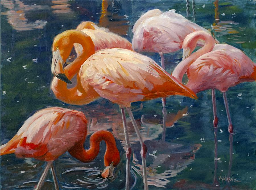 Discover Original Art by Eric Vanasse | Tropical Flamingos oil painting | Art for Sale Online at UGallery