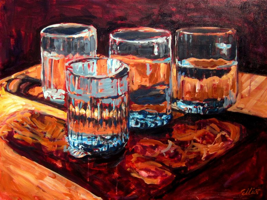 Discover Original Art by Elliot Coatney | Hand Blown Glasses, Mexico acrylic painting | Art for Sale Online at UGallery