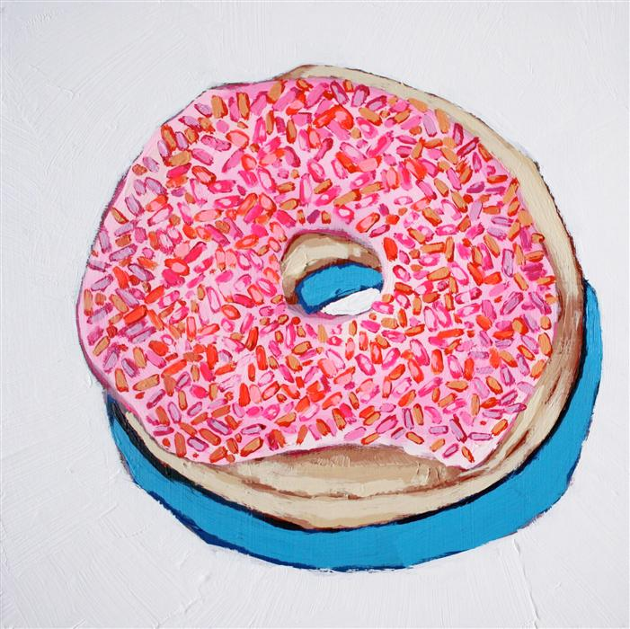 Original art for sale at UGallery.com | Neon Donut by NICOLE NEWSTED | $550 | Acrylic painting | 12' h x 12' w | http://www.ugallery.com/acrylic-painting-neon-donut