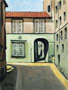 Architecture art,Travel art,oil painting,Passage in Lucca