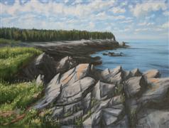 Landscape art,Seascape art,Classical art,Realism art,Representational art,oil painting,Campobello Rocks