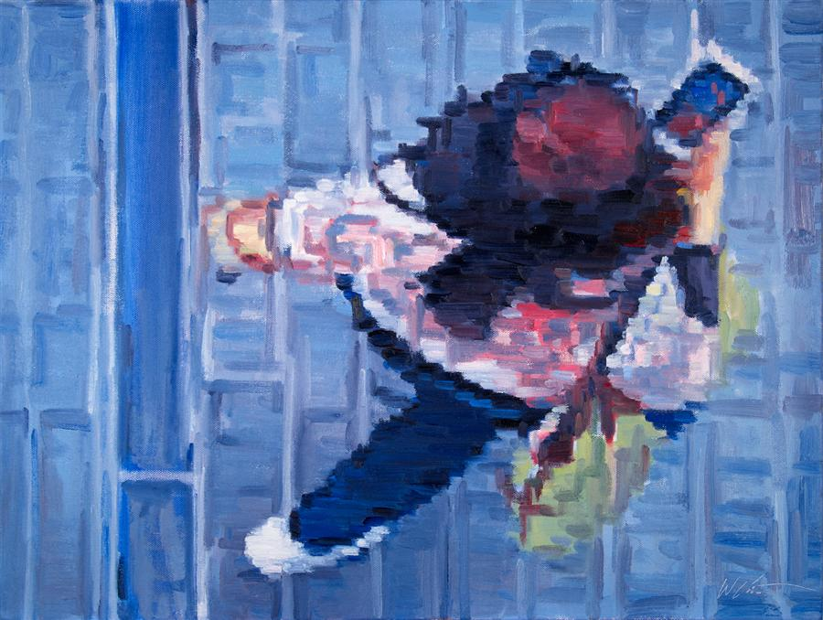 Original art for sale at UGallery.com | Woman Using Mobile Device on Hollywood Boulevard by WARREN KEATING | $1,575 | Oil painting | 18' h x 24' w | http://www.ugallery.com/oil-painting-woman-using-mobile-device-on-hollywood-boulevard