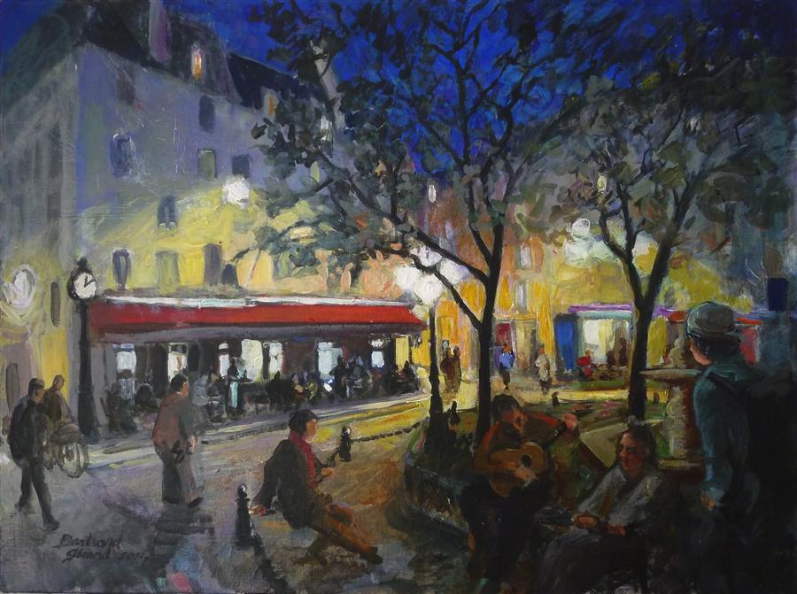 Discover Original Art by Bertrand Girard | Place de la Contrescarpe mixed media artwork | Art for Sale Online at UGallery