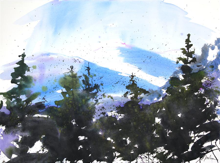Original art for sale at UGallery.com | Landscape from Friend's Home No. 8 by SUMIYO TORIBE | $425 | Watercolor painting | 22' h x 30' w | http://www.ugallery.com/watercolor-painting-landscape-from-friend-s-home-no-8