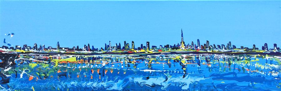 Original art for sale at UGallery.com | Skyline Dubai by PIERO MANRIQUE | $600 | Acrylic painting | 10' h x 30' w | http://www.ugallery.com/acrylic-painting-skyline-dubai
