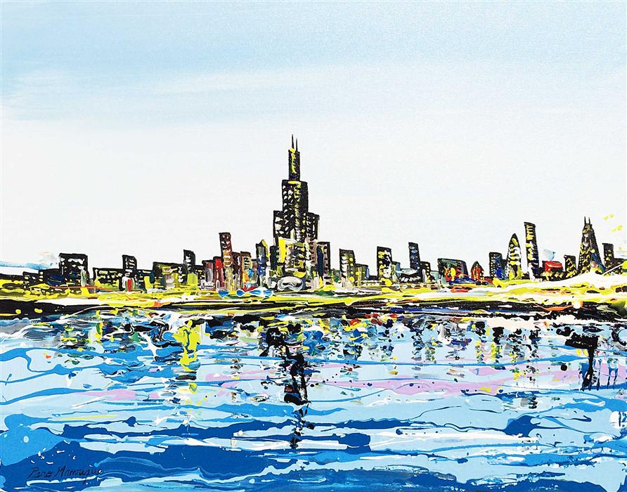 Discover Original Art by Piero Manrique | Chicago and the Lake acrylic painting | Art for Sale Online at UGallery