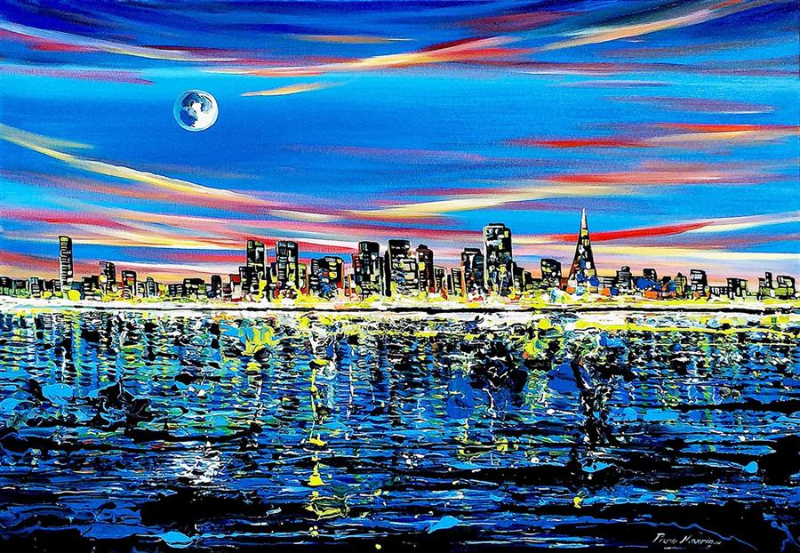 Original art for sale at UGallery.com | San Francisco Night by PIERO MANRIQUE | $1,575 | Acrylic painting | 30' h x 40' w | http://www.ugallery.com/acrylic-painting-san-francisco-night
