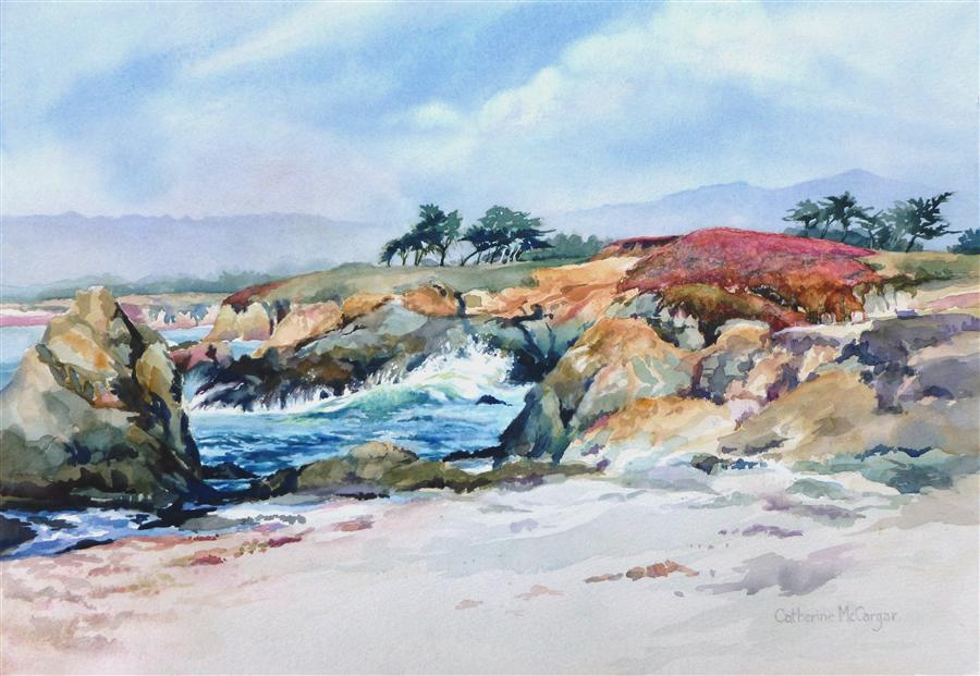 Original art for sale at UGallery.com | Beach at Fort Bragg, Mendocino by CATHERINE MCCARGAR | $850 | Watercolor painting | 14' h x 20' w | http://www.ugallery.com/watercolor-painting-beach-at-fort-bragg-mendocino
