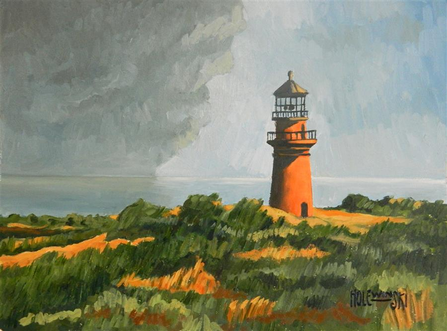 Original art for sale at UGallery.com | Gay Head Lighthouse by ROBERT  HOLEWINSKI | $1,035 | Oil painting | 15' h x 20' w | http://www.ugallery.com/oil-painting-gay-head-lighthouse